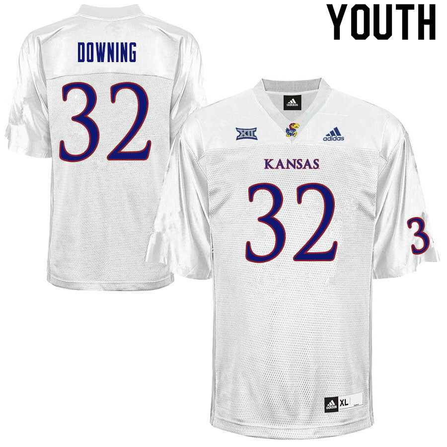 Youth #32 Dylan Downing Kansas Jayhawks College Football Jerseys Sale-White