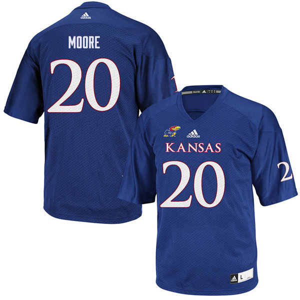 Youth #20 Emmanuel Moore Kansas Jayhawks College Football Jerseys Sale-Royal