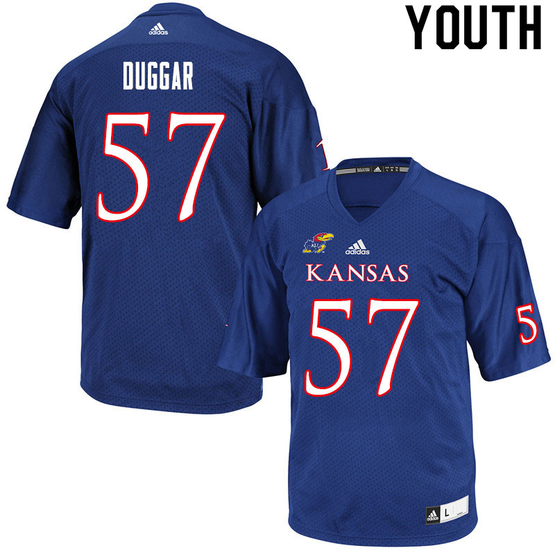 Youth #57 Emory Duggar Kansas Jayhawks College Football Jerseys Sale-Royal