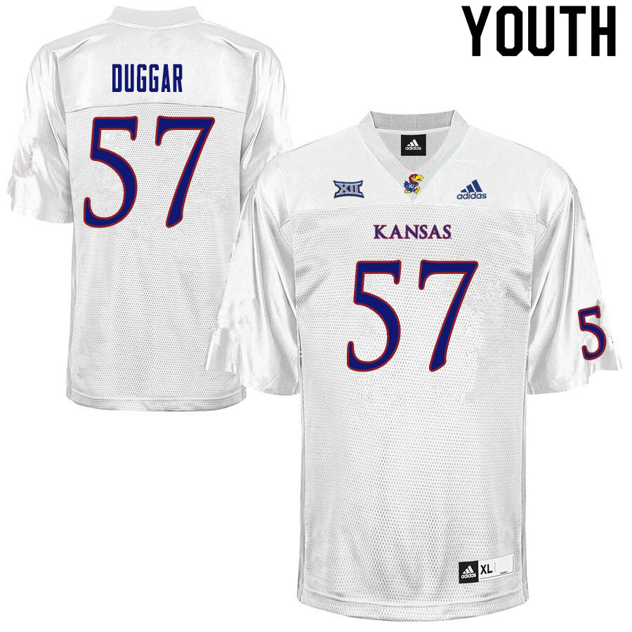 Youth #57 Emory Duggar Kansas Jayhawks College Football Jerseys Sale-White