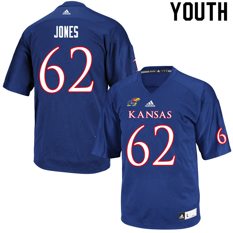 Youth #62 Garrett Jones Kansas Jayhawks College Football Jerseys Sale-Royal