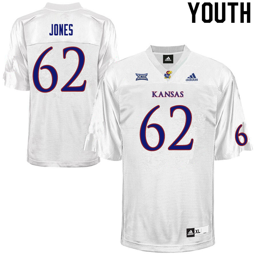 Youth #62 Garrett Jones Kansas Jayhawks College Football Jerseys Sale-White