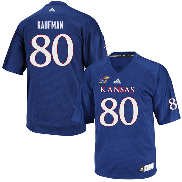 Youth #80 Hunter Kaufman Kansas Jayhawks College Football Jerseys Sale-Royal