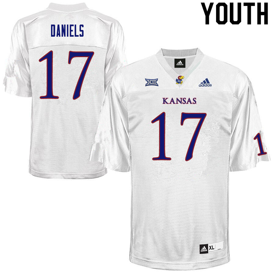 Youth #17 Jalon Daniels Kansas Jayhawks College Football Jerseys Sale-White