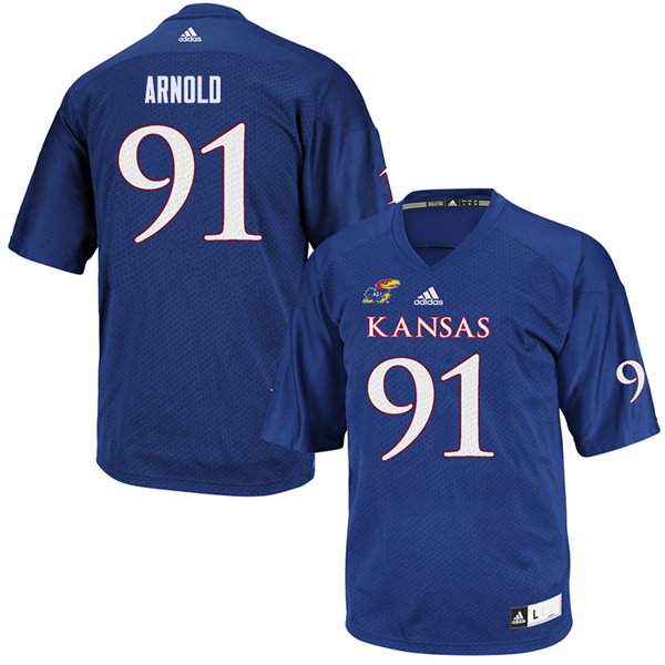 Youth #91 Jelani Arnold Kansas Jayhawks College Football Jerseys Sale-Royal